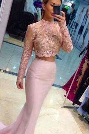 Pale Pink Two Pieces Prom Dresses, Long Sleeves Prom Dress, Lace Mermaid, See Through ,Jewel Neckline Prom Dresses , Long Prom Dresses , Prom Dress, Affordable Prom Dress,Custom Made Evening Dress