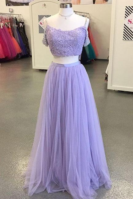 Light Purple Tulle Long Prom Dress,Two-Piece Lace Evening Dress,Off The Shoulder Prom Party Gowns, Cheap Prom Dress, Affordable Prom Dress,Custom Made Evening Dress