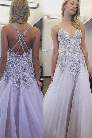 Sexy Prom Dresses, Spaghetti Straps, A Line Floor-length, Lavender Long Prom Dress,Sexy Party Dress,Custom Made Evening Dress