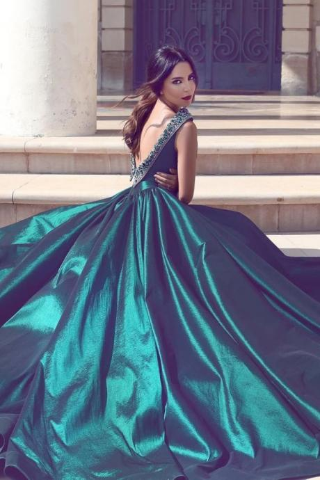 long prom dress,floor length Prom Dress ,Cheap Long Prom Dress ,sweep train long prom gowns,v back sexy pro gowns ,Suitable Evening Dresses