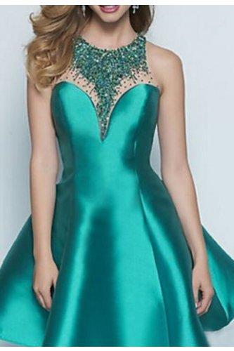 A-line Bateau Party Dresses,O Neck ,Knee-length, Shiny Beading , Cocktail Dresses/Short Prom Dress , Formal Evening Gown