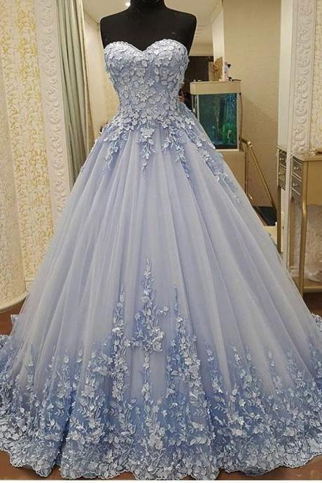 Elegant Tulle Evening Dress, Sexy Ball Gown Appliques Prom Dresses, Formal Evening Gown