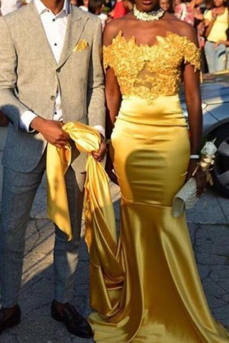 Beautiful Yellow Lace Appliques Top Prom Dress,Court Train Prom Dresses, Satin Evening Party Gowns, Formal Dress, New Fashion,Custom Made Evening Dress