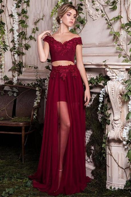 Sexy Burgundy Prom Dress, Appliques Prom Dresses, Chiffon Evening Dress , Floor-length Long Evening Dresses, Pink Strapless Prom Dresses ,Sexy Gold Appliques Prom Dress/Evening Dress , Long Evening Dress