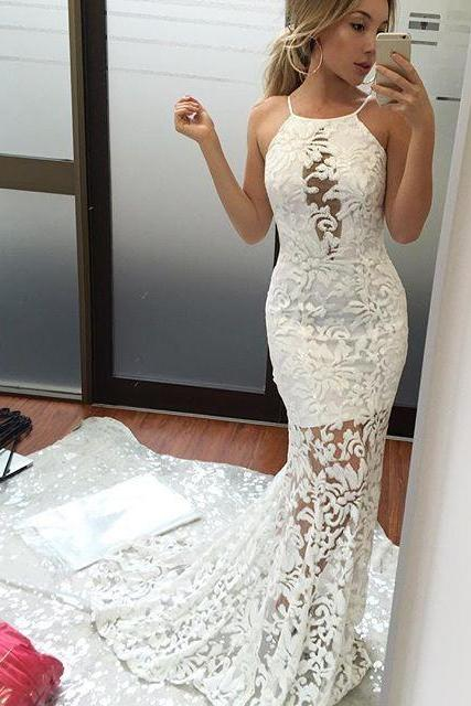 Charming Mermaid Prom Dress ,Spaghetti Straps Prom Dresses, Long White Lace Prom/Evening Dress With Sweep Train , Long Prom Dresses