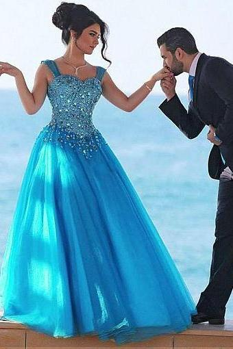 Bule Tulle Sweetheart Neckline Ball Gown, Evening Dresses With Beadings,Party Dresses, Elegant Evening Dress