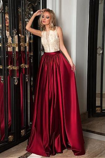 Showy Satin Tulle Prom Dress, Jewel Neckline, A-line Evening Dresses With Pockets & Beadings & Embroidery, Prom Dresses