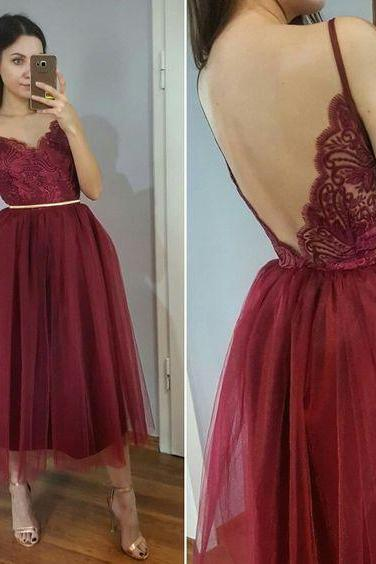 Tea Length Burgundy Homecoming Dress,Spaghetti Straps Lace Party Dress,evening dresses