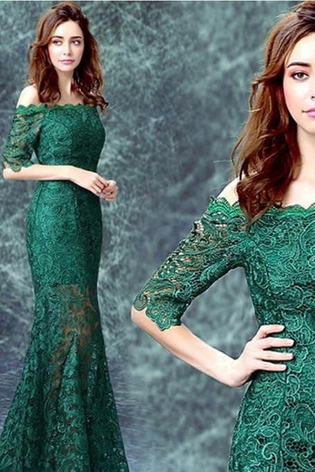 Sexy green off shoulder long sleeve Lace long prom dress,Custom Made,Party Gown,Cheap Evening dress