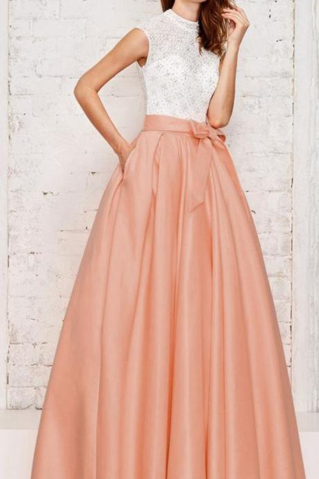 Fashionable Lace & Satin High Collar Neckline Prom Dresses,Cap Sleeves Cut-out Hi-lo A-line Prom Dress With Hot-fix Rhinestones & Pockets & Belt,Cheap Evening Dress,Custom Made,Party Gown