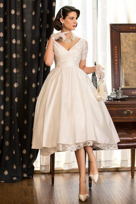 A-Line Princess V Neck Tea Length Taffeta Custom Wedding Dresses with Lace Criss Cross,Cheap Evening Dress,Custom Made,Party Gown