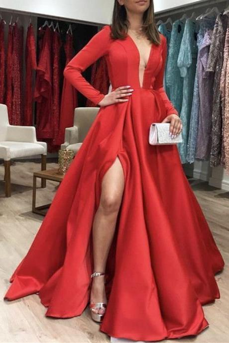Long Sleeves Satin Red Prom Dresses Leg Slit Evening Gown Party Dresses, Deep V-neck, Bridesmaid Dresses,Deep V neck , Evening Gowns