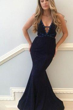 Party Dress, Sleeveless Zipper Party Dresses, Mermaid V-Neck Floor-Length Navy Blue Prom Dress with Beaing, Bridesmaid Dresses Dress , Evening Gowns