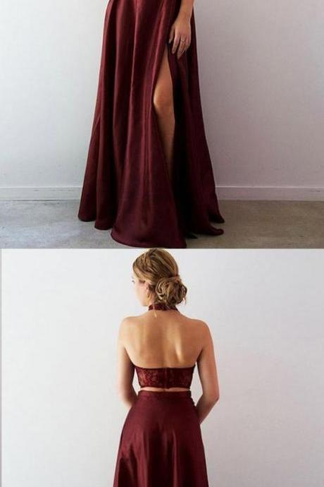 Two Piece Prom Dresses Halter Lace Burgundy Taffeta Long Slit Prom Dress Bridesmaid Dresses Evening Gowns, party dresses,burgundy lace formal dresses