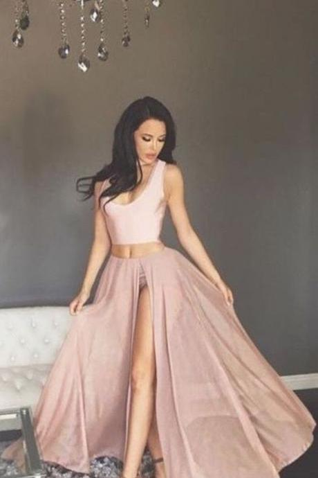 Two Piece Scoop Blush pink Long Chiffon Prom Dress with Split, Bridesmaid Dresses ,long pink Evening Gowns,sleevesless party dresses,