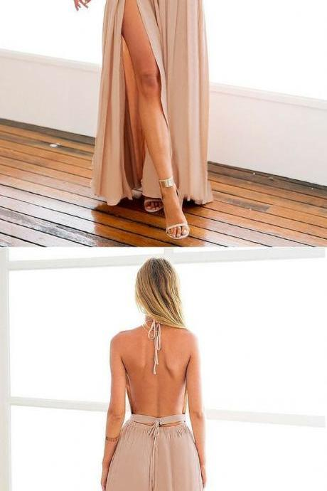 Sexy Prom Dress,High Slit Chiffon Prom Gown,Backless Prom Dress,Elegant Prom Gown,Backless Evening Party Dress