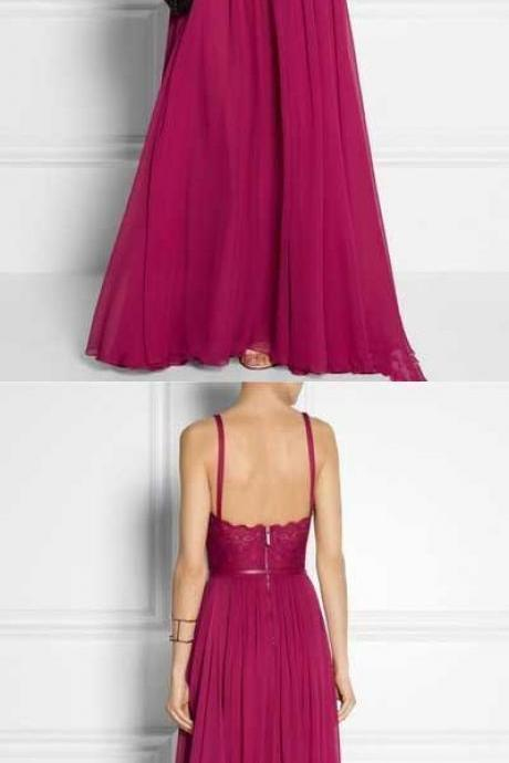 Hot-Selling Fuchsia A-Line Spaghetti Straps Long Prom Dress,Evening Dress with Zipper Up,Long Chiffon Prom Dress,Prom Dresses, long bridesmaid dresses,