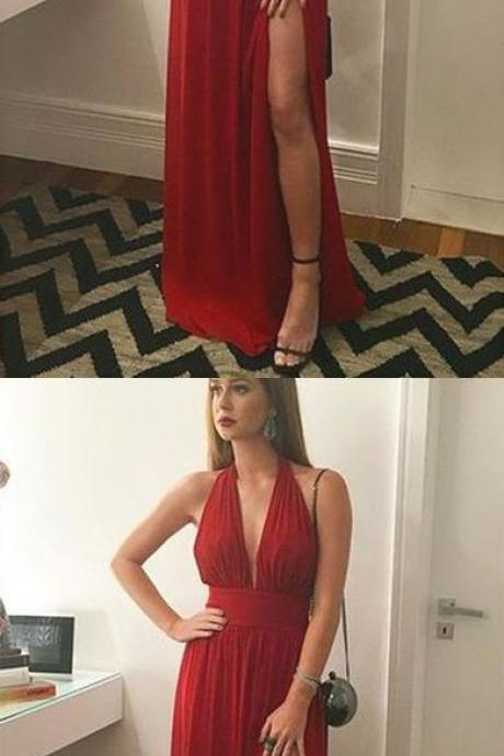 Red Chiffon V-Neck Side Slit Long Prom Dress, Evening Dress, Formal Dress, Bridesmaid Dresses with Ribbon chiffon,short Dress ,Deep V neck , Evening Gowns, red party dresses
