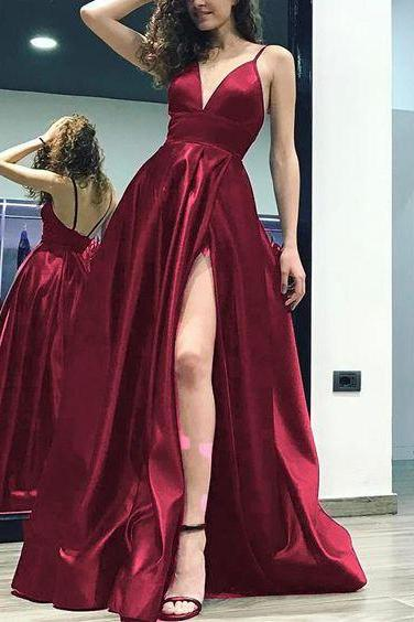 Elegant Burgundy Long Prom Dress with Slit Sexy Formal Gown Satin Long Evening Party Gown, Deep V-neck, Bridesmaid Dresses with Ribbon chiffon,short Dress ,Deep V neck , Evening Gowns