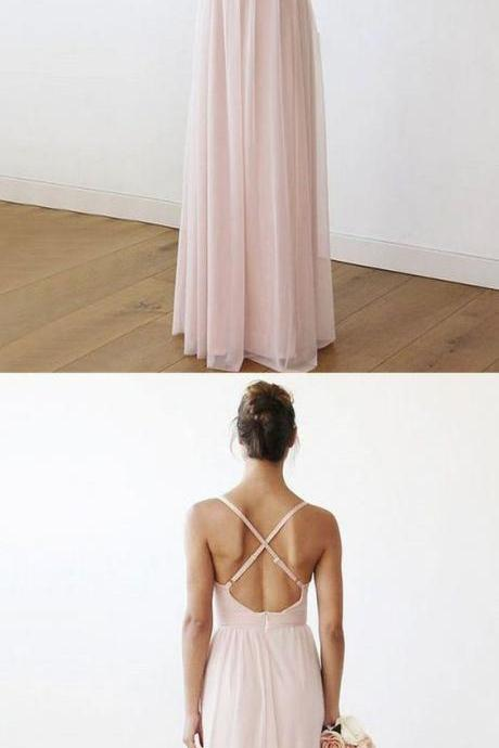 Charming Sheath V Neck Cross Back Peal Pink Chiffon Bridesmaid Dresses, Bridesmaid Dresses chiffon ,Deep V neck , pink Chiffon Evening Gowns , long party dresses