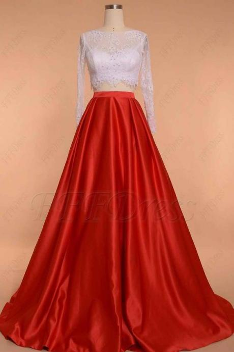 White red ball gown two piece prom dress long sleeves,long Evening Gowns, party dresses