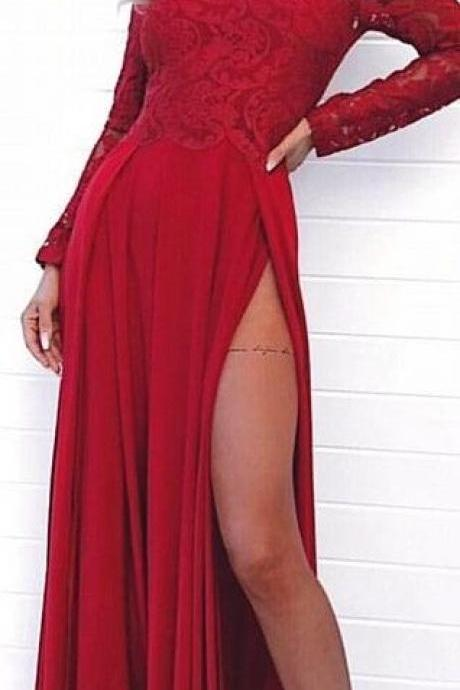 modest dark red off the shoulder prom dresses with sleeves, simple long sleeves party dresses with lace, elegant chiffon evening gowns with slit ,long Evening Gowns, party dresses