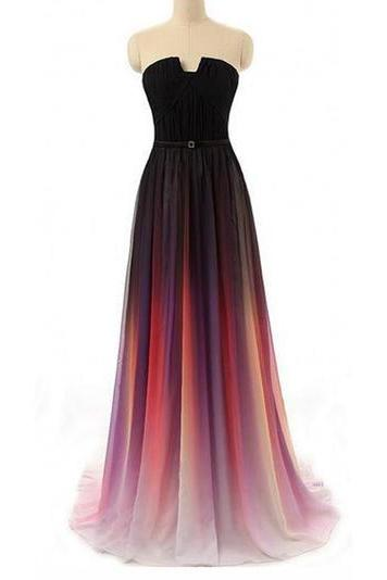 A-line Straight Across Floor-Length Chiffon Ombre Prom Dresses, long Evening Gowns, party dresses