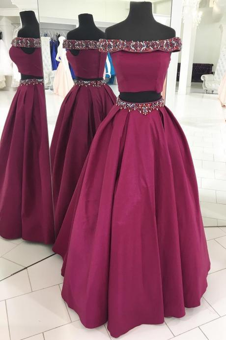 Off the Shoulder Two Piece Fuchsia Long Prom Dress, long Evening Gowns, party dresses