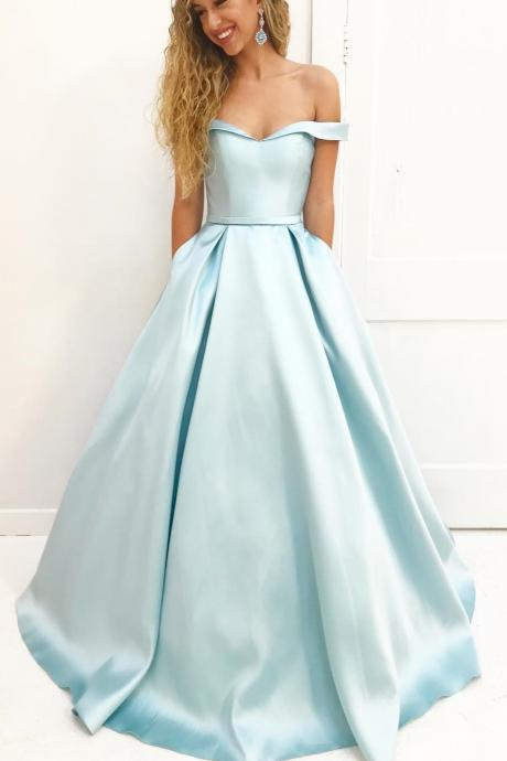 Mint Green Long Prom Dress, Off Shoulder Long Prom Dress with Pockets, long Evening Gowns, party dresses