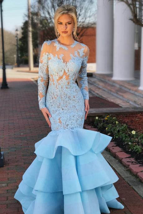 Elegant Long Sleeves Mermaid Blue Long Prom Dress with Open Back, long Evening Gowns, party dresses