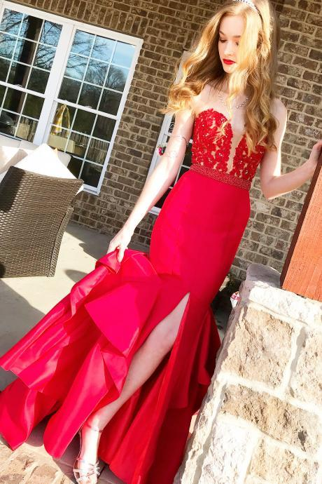 Gorgeous Sweeheart Red Mermaid Long Prom Dress with Side Slit, long Evening Gowns, party dresses