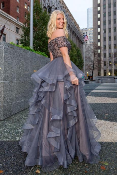 Off the Shoulder Grey Tulle Long Prom Dresses, Party Dress, long Evening Gowns, party dresses