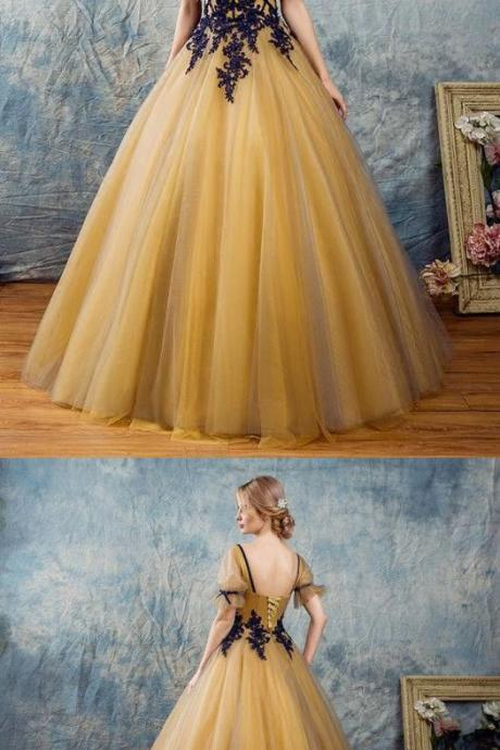 A-line Square Floor-Length Prom Dress,Tulle Appliqued Golden Prom Dresses , long Evening Gowns, party dresses