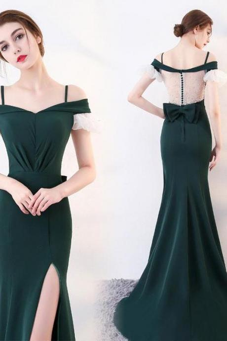 Green long prom dress, mermaid green evening dress , long Evening Gowns, party dresses