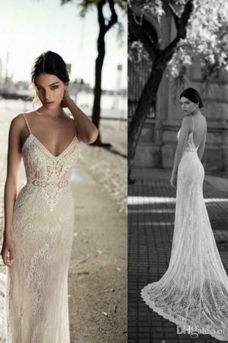 Sexy Mermaid Wedding Dresses ,Bridal Gowns, Backless Spaghetti Neck Lace Wedding Dress, long Evening Gowns, party dresses