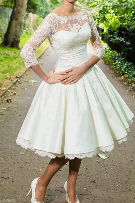 Knee Length Wedding Dresses Bridal Gown 3/4 Sleeves Plus Size