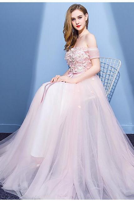 A-line Off-Shoulder Floor-Length Prom Dress,Tulle Appliqued Pink Prom Dresses,Long Prom Dress, long Evening Gowns, party dresses