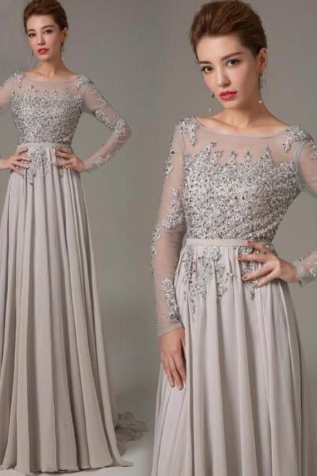 Long Sleeve Prom Dress, Gray Prom Dress, Backless Prom Dress,Fashion Prom Dress, Formal Party Dress,Custom Prom Dress, long Evening Gowns, party dresses