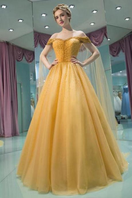 New Style Yellow Dress,Prom Dress, A Line Tulle Prom Dress , Formal Gowns,Sweetheart Formal Dress, Party Dress,Custom Formal Dress, long Evening Gowns, party dresses