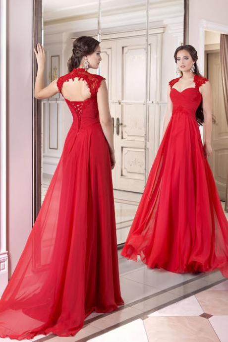 Red Chiffon Evening Dress, Sexy Prom Dress,Open Back Dress, New Style Evening Dress, Formal Dress,Custom Dress