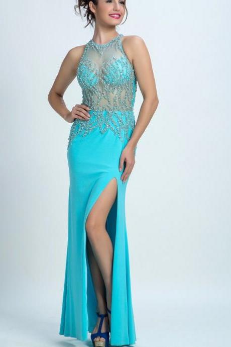 A-line Illusion Floor-Length Chiffon Rhine Stone Beaded Prom Dresses ,Long Prom Dress, long Evening Gowns, party dresses