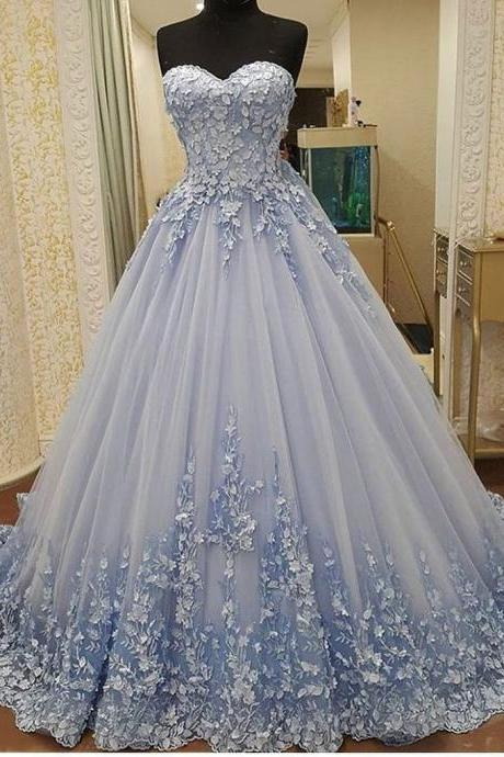 A-line Sweetheart Chapel Train Prom Dress,Tulle Appliqued Elegant Prom Dresses , long Evening Gowns, party dresses