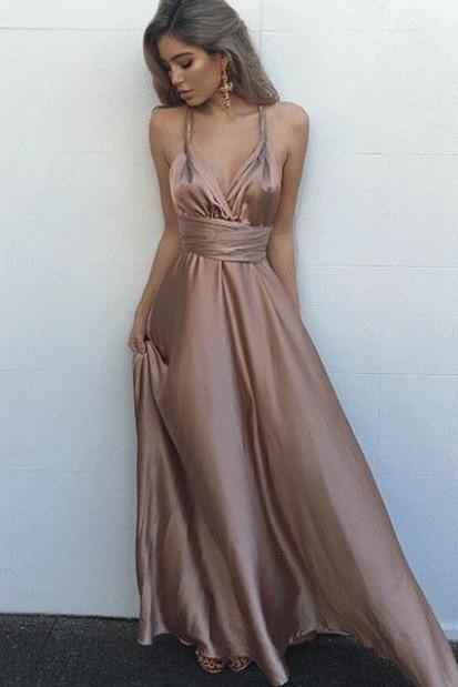 spaghetti party dress ,V Neck prom dress Maxi Dress,Gorgeous Satin Prom Dress,Sleeveless evening dress, long Evening Gowns, party dresses