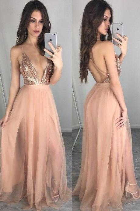 spaghetti party dress, Sexy V-neckline evening dress ,Champagne Open Back Prom Dress pink prom dress, long Evening Gowns, party dresses