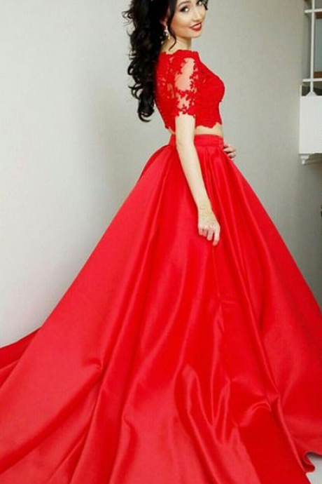 short Sleeves A-line Red Satin Prom Dress, 2 pieces Lace appliques Women Evening Dress,Long Evening Formal Dress,Women Dress,Evening Gowns