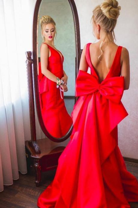 Open Back Long Red Satin Prom Dresses, Floor Length Women Evening Dress,Women Dress,Evening Gowns