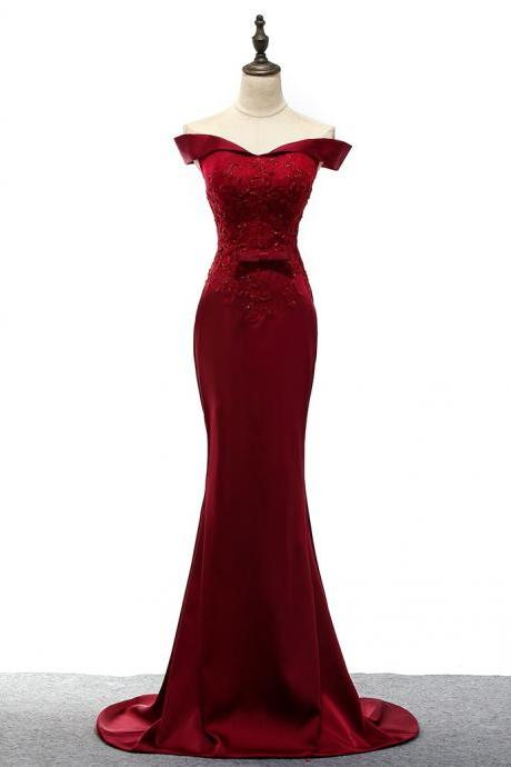 Red Off Shoulder Mermaid Satin Prom Dress Floor Length Women Dress