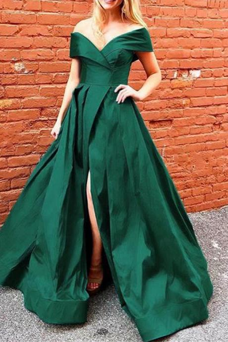 Off the Shoulder Satin Prom Dress High Split Women Party Dress,Long Evening Formal Dress,Women Dress,Evening Gowns
