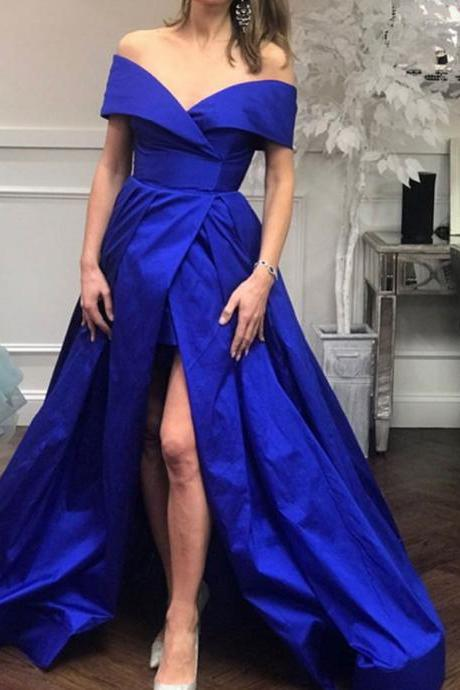 Off the Shoulder Satin Prom Dresses, High Split Women Party Dress,Long Evening Formal Dress,Women Dress,Evening Gowns