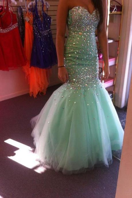 Real Iamge Prom Dresses, New Elegant Cheap Mermaid Prom Dress,Light Green Beads Crystals Prom Dresses,Rhinestones Bling Sparkle Tulle Long Formal Party Gowns
